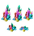 the stage of formation of multicolored crystalline vector image