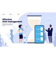 time management landing effective business vector image vector image
