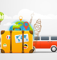 Vacation travelling composition with retro red bus vector image vector image