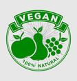 vegan organic natural product logo or label vector image vector image