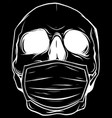 white silhouette skull face in medical face vector image vector image