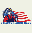 worker american labor day design vector image vector image