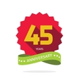 Years 45 anniversary label logo badge vector image vector image