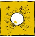 yellow frame with butterflies vector image vector image