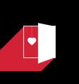 heart behind the door light from an open door vector image