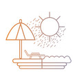 line beach with sun chair and umbrella vector image