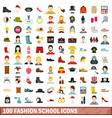 100 fashion school icons set flat style vector image