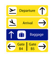a selection of airport navigation signs vector image vector image