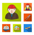 architecture and construction flat icons in set vector image