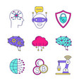 artificial intelligence color icons set vector image vector image