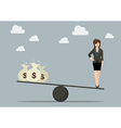 Balancing between work and money vector image