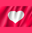 banner white heart red background vector image vector image