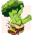 Broccoli vs burger healthy food fast vector image vector image