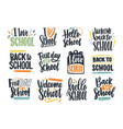 bundle back to school inscriptions handwritten vector image vector image