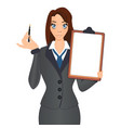 business woman holds a pen to sign a contract vector image