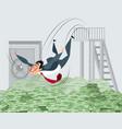 businessman bathing in money vector image