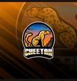 cheetah esport mascot logo design vector image vector image