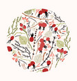 circular floral decoration or natural decorative vector image