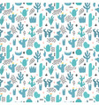 cute seamless pattern with cacti and succulents vector image vector image