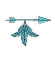 decorative arrows with feathers boho style vector image