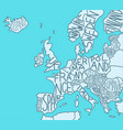 drawn map europe with country names european vector image