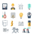 Electricity and power industry icons flat vector image vector image