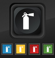 extinguisher icon symbol Set of five colorful vector image