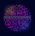 fishkeeper colored round vector image vector image