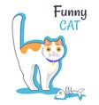 funny cat with fish bone vector image vector image