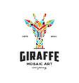 giraffe mosaic logo vector image