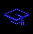 graduate hat neon sign bright glowing symbol on a vector image