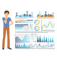 graph report man counting profit icon vector image vector image