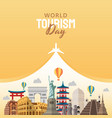 hand drawn world tourism day concept vector image vector image