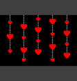 hanging red hearts dash line happy valentines day vector image