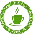 icon with green tea cup vector image vector image