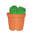 ink style hand drawn sketch cactus in pot vector image vector image
