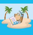 island beach sea plane ticket passport tourist vector image