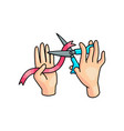 kid hands keep red tape or ribbon and cut vector image
