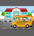 kids riding on school bus to school vector image