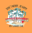 Lovely summer bright poster with palms on island