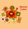 mexican cuisine icon with taco nacho and sauce vector image