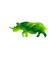 paper cut rhinoceros safari animals shape 3d vector image vector image
