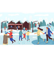 people in winter park happy families seasonal vector image