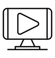 play video monitor icon outline style vector image