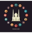 Postcard template with islamic culture icons vector image vector image