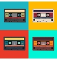 realistic colorful radio cassettes vector image