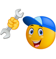 Repairman emoticon smiley vector image vector image
