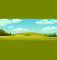 rural landscape panorama green fields blue sky vector image