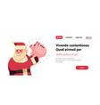 santa claus hold piggy bank money savings merry vector image vector image