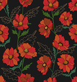 Seamless pattern with poppy in black vector image